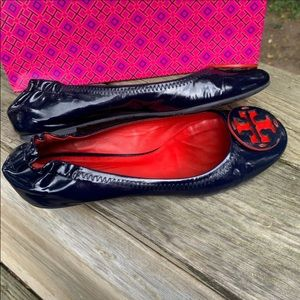 Tory Burch Navy & Red Patent Leather 7.5M